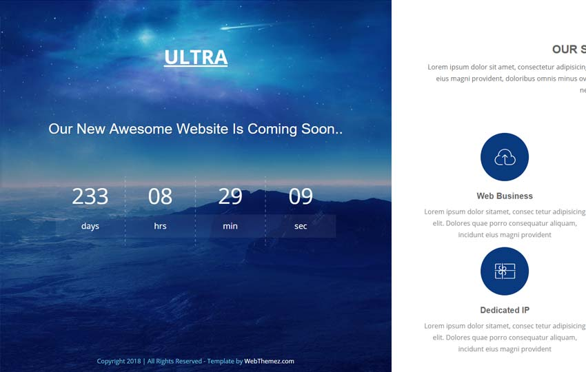 Coming Soon Responsive HTML Website Free Download