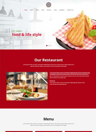 Italy Best Restaurant Website Template Free