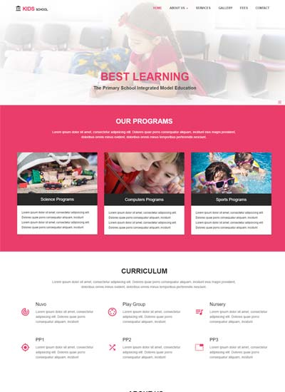 Kids Primary School HTML Website Template