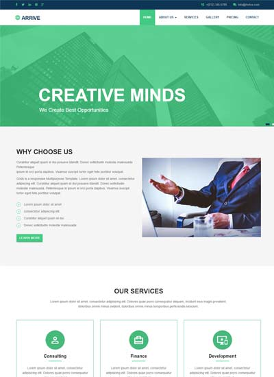 Free website templates and bootstrap themes webthemez arrive business responsive website template accmission