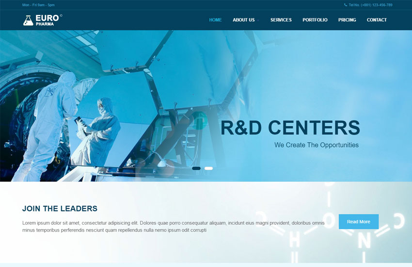 pharma industry responsive website template free download