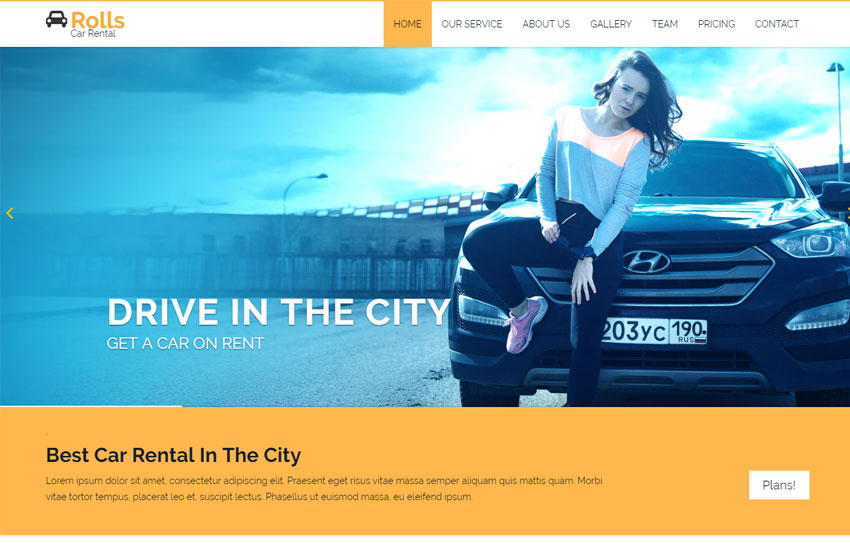car rental bootstrap website template free download