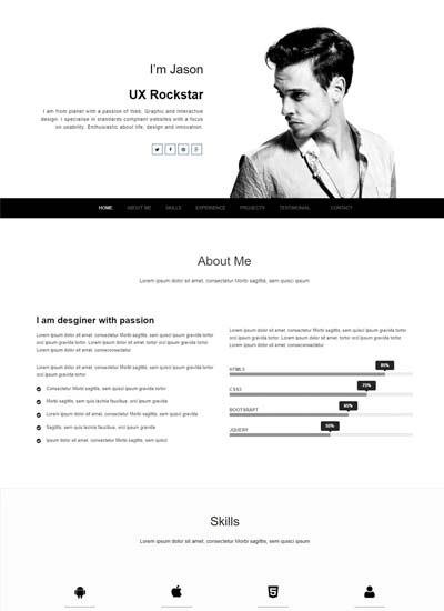 free resume website templates download one page web template best creative winner