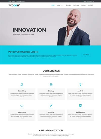 tycoon corporate bootstrap html website template download