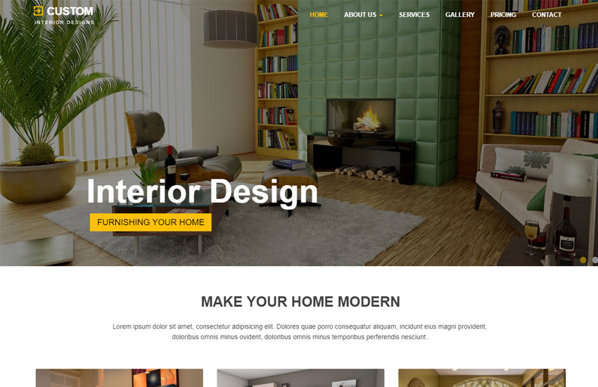 Best Interior Design Website Template Free Download Beauteous Custom Interior Design Interior