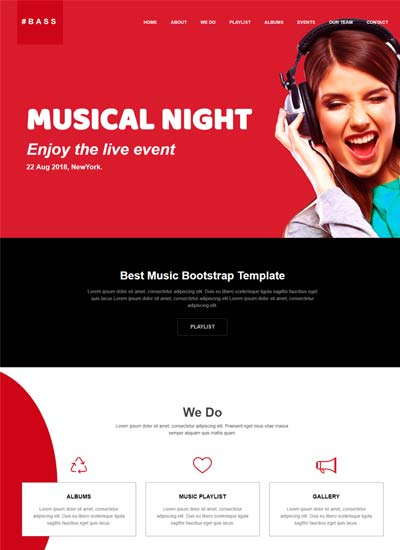 Music Website Template HTML Bootstrap WebThemez - Music website templates