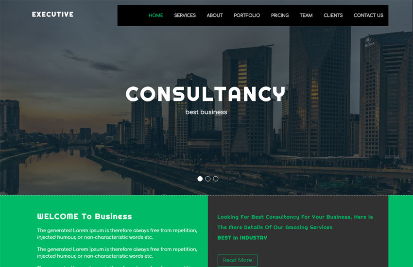 executive corporate business bootstrap 4 website template free