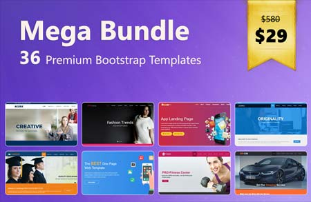 36 bootstrap html5 templates mega bundle