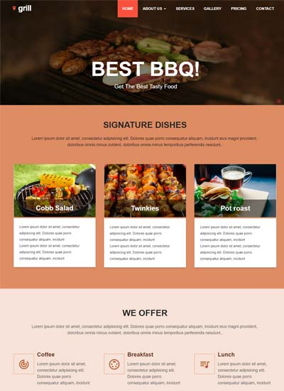 Hotel Restaurant Bootstrap Website Templates - WebThemez