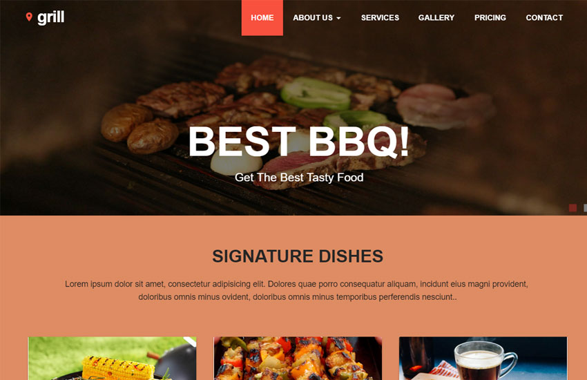 Free Responsive Restaurant Website Template - WebThemez