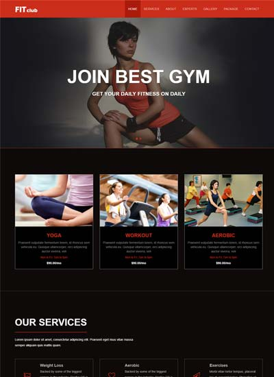 Fit Club Gym Fitness Free Website Template