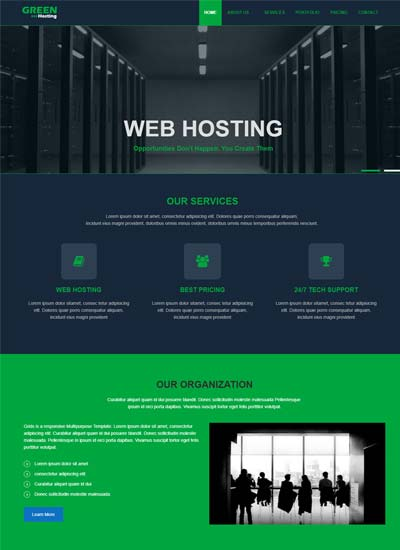 green best free web hosting templates