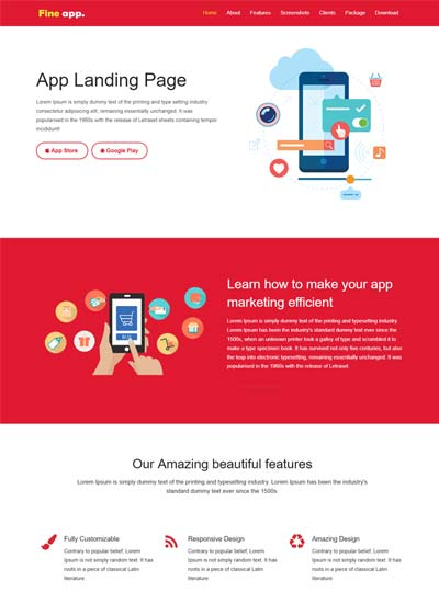 One Page Websites Using HTML CSS Free Download - Simple landing page html template