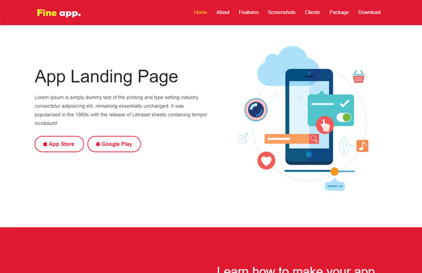 best app landing page free web template download webthemez