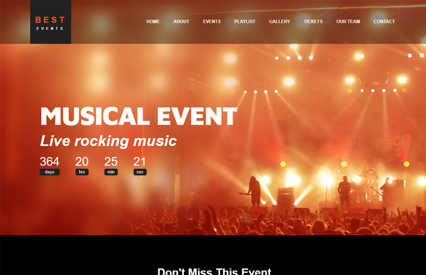 best event management website template free download