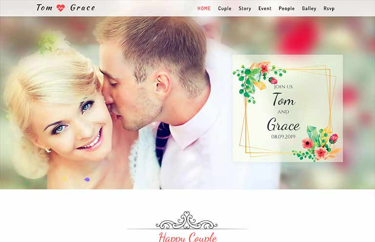 Bootstrap 4 Wedding Template