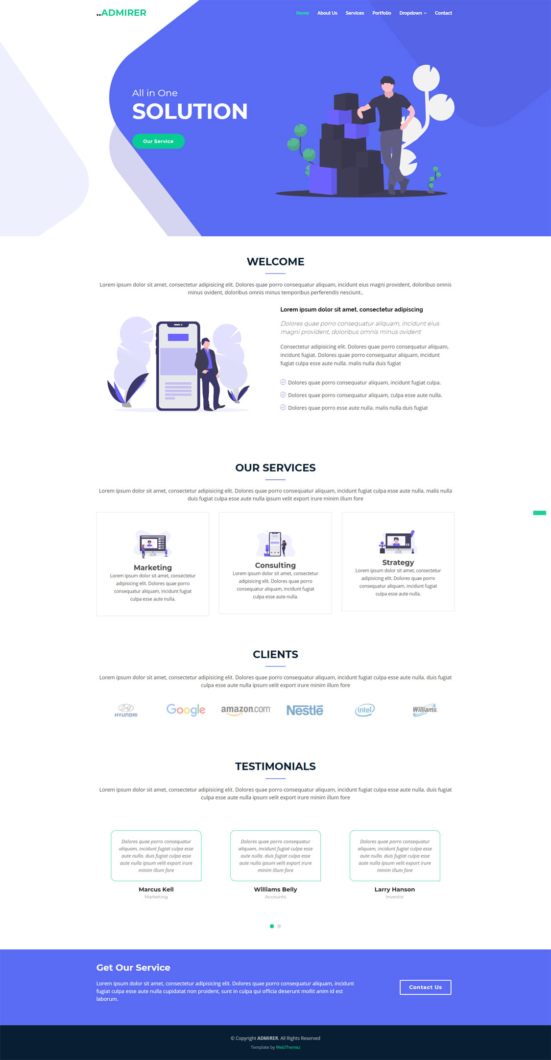 Admirer Business Website Bootstrap 4 Theme Webthemez