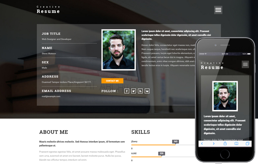 24 free bootstrap html resume website templates 2019