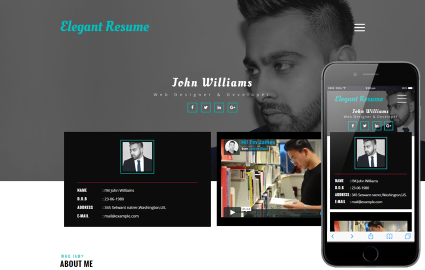24 free bootstrap html resume website templates 2020