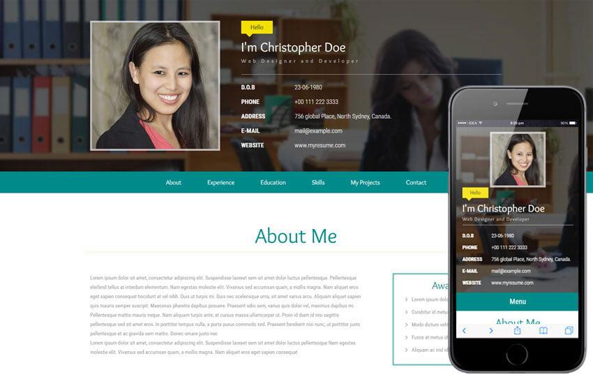 22 latest free html resume  u0026 cv website templates 2019
