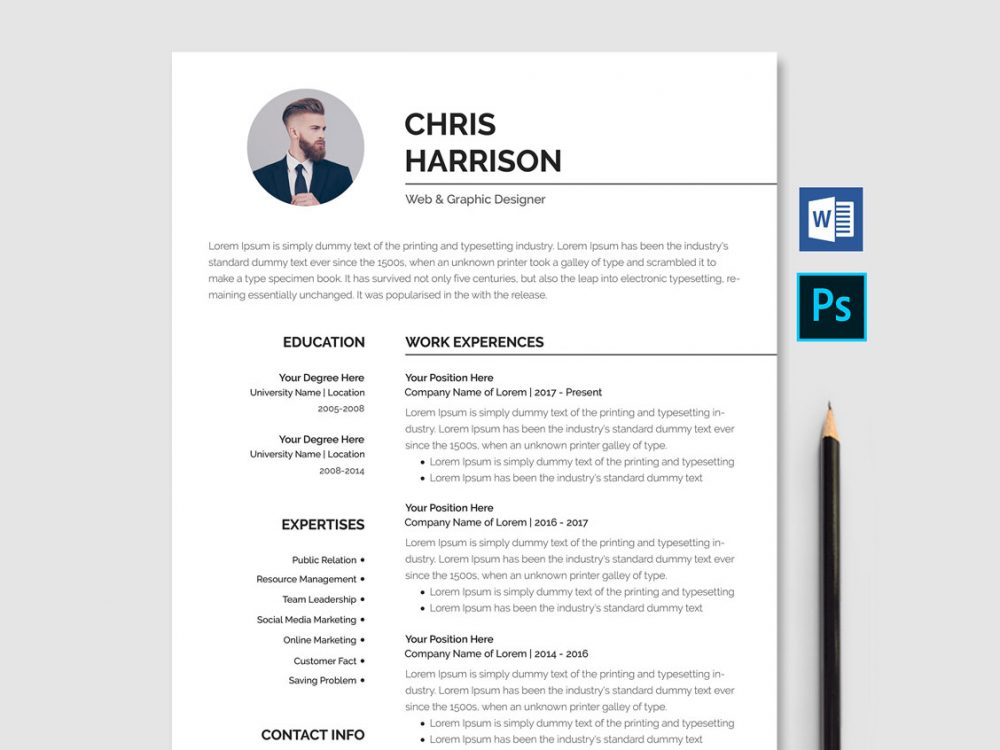 65 Best Free MS Word Resume Templates 2019 - WebThemez