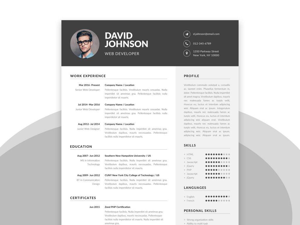 Resume Word Template 2019 from webthemez.com