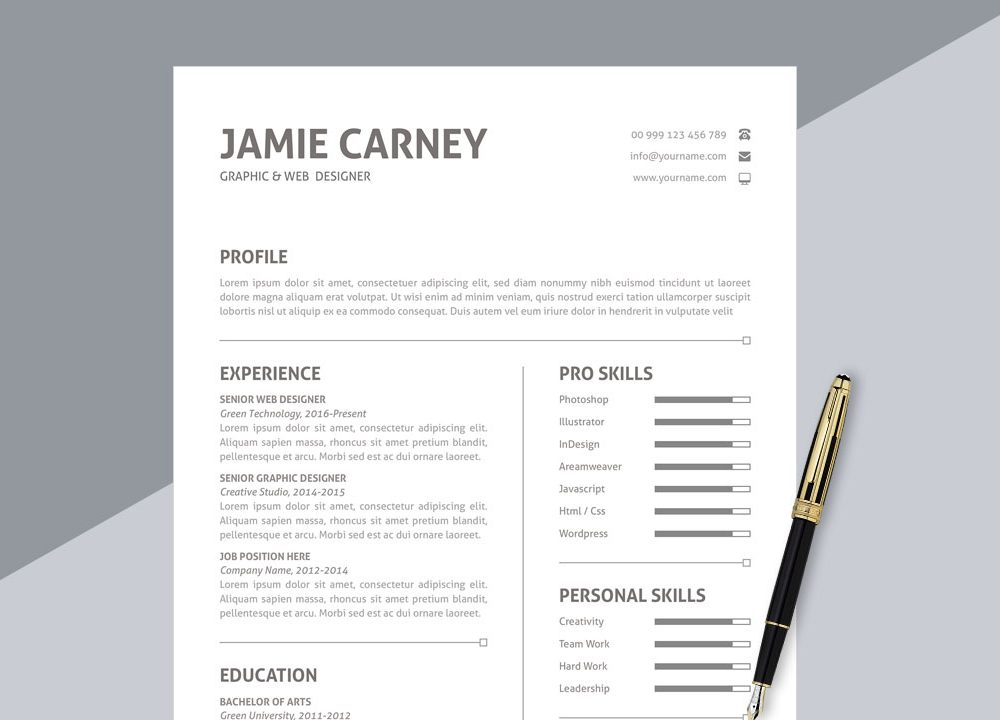 65 Best Free Ms Word Resume Templates 2020 Webthemez