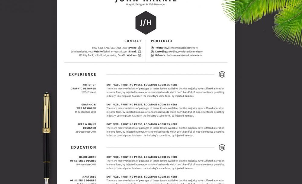 Clean Resume Template Download in Word