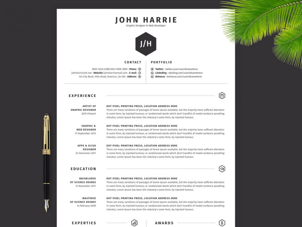 65 Best Free MS Word Resume Templates 2020 - WebThemez