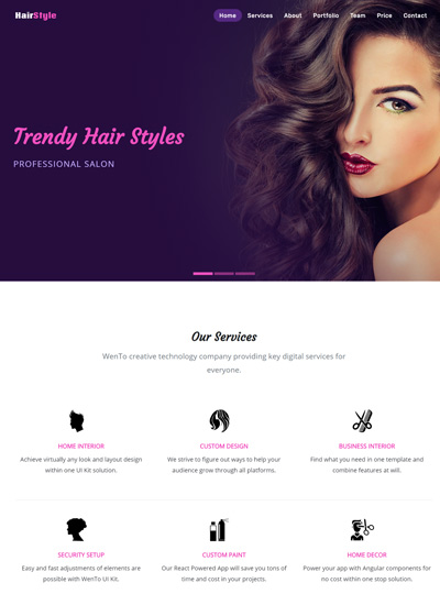 Salon bootstrap free template
