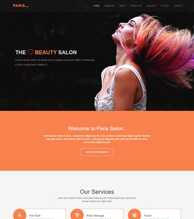 Paris Hair Salon Responsive HTML Template