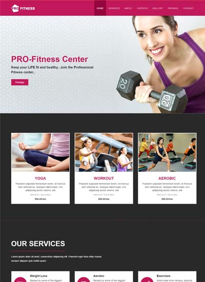 Pro Fitness Center Free HTML5 Web Template  Fitness Templates Free